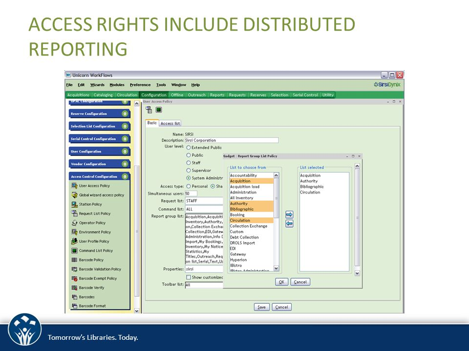 Tomorrow's Libraries. Today. ACCESS RIGHTS INCLUDE DISTRIBUTED REPORTING