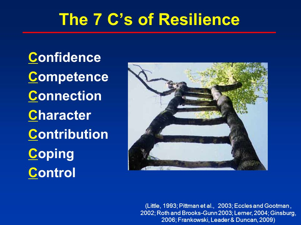 The 7 C's of Resilience Confidence Competence Connection Character Contribution Coping Control (Little, 1993; Pittman et al., 2003; Eccles and Gootman, 2002; Roth and Brooks-Gunn 2003; Lerner, 2004; Ginsburg, 2006; Frankowski, Leader & Duncan, 2009)