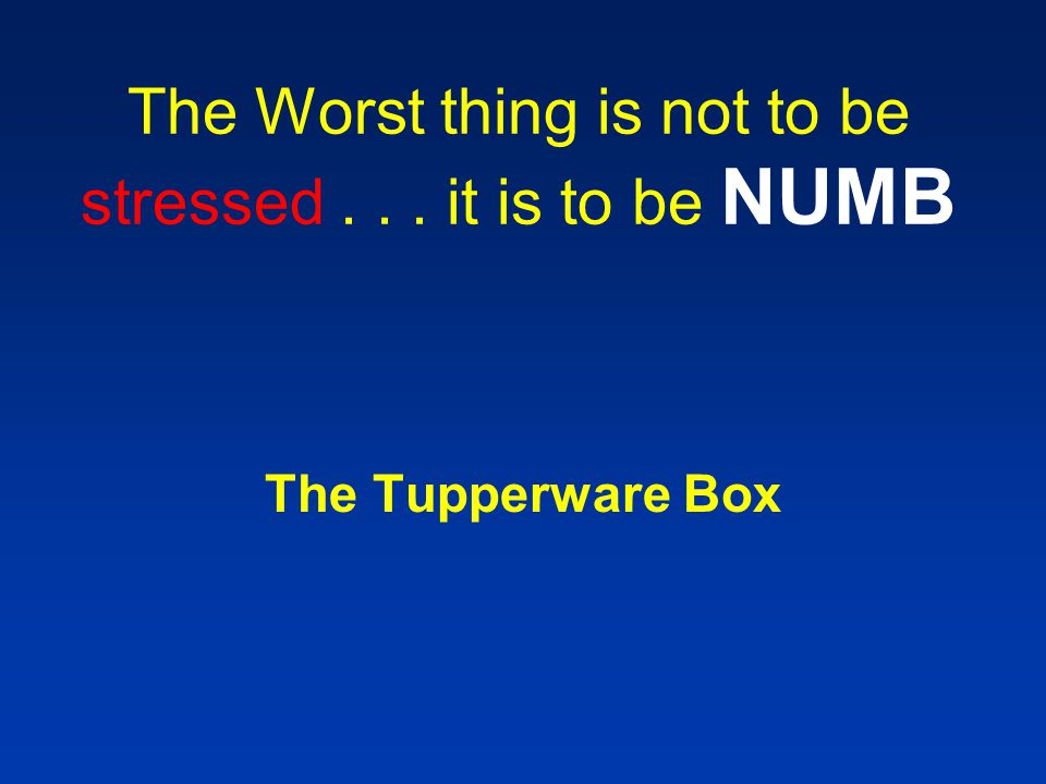 The Worst thing is not to be stressed... it is to be NUMB The Tupperware Box