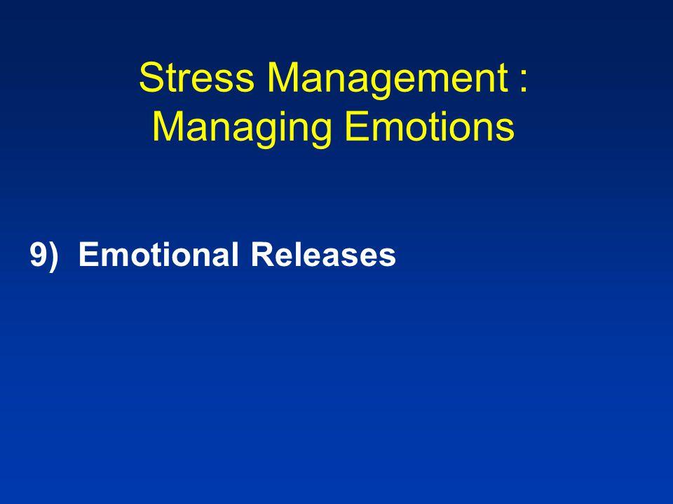Stress Management : Managing Emotions 9) Emotional Releases
