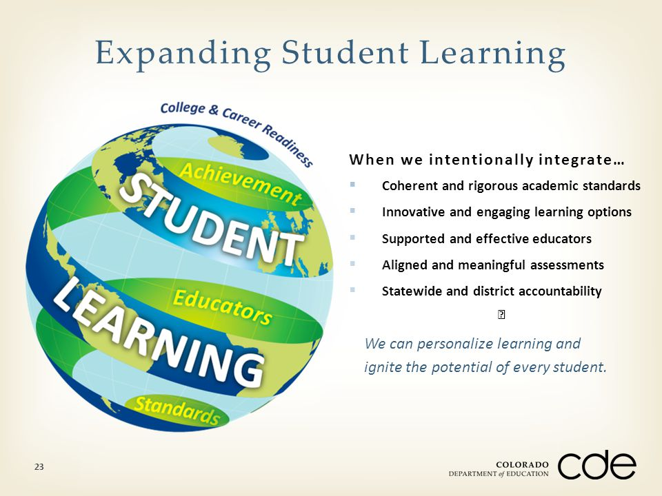 When we intentionally integrate…  Coherent and rigorous academic standards  Innovative and engaging learning options  Supported and effective educa