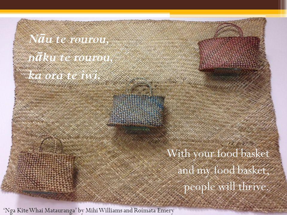 N ā u te rourou, n ā ku te rourou, ka ora te iwi. With your food basket and my food basket, people will thrive. 'Nga Kite Whai Matauranga' by Mihi Wil