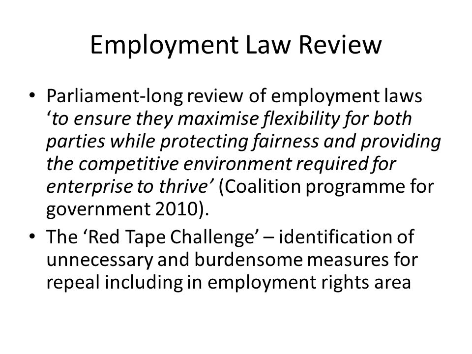 Perceived problems and response Too many disputes going to employment tribunals (200,000 claims per year); too easy to apply.