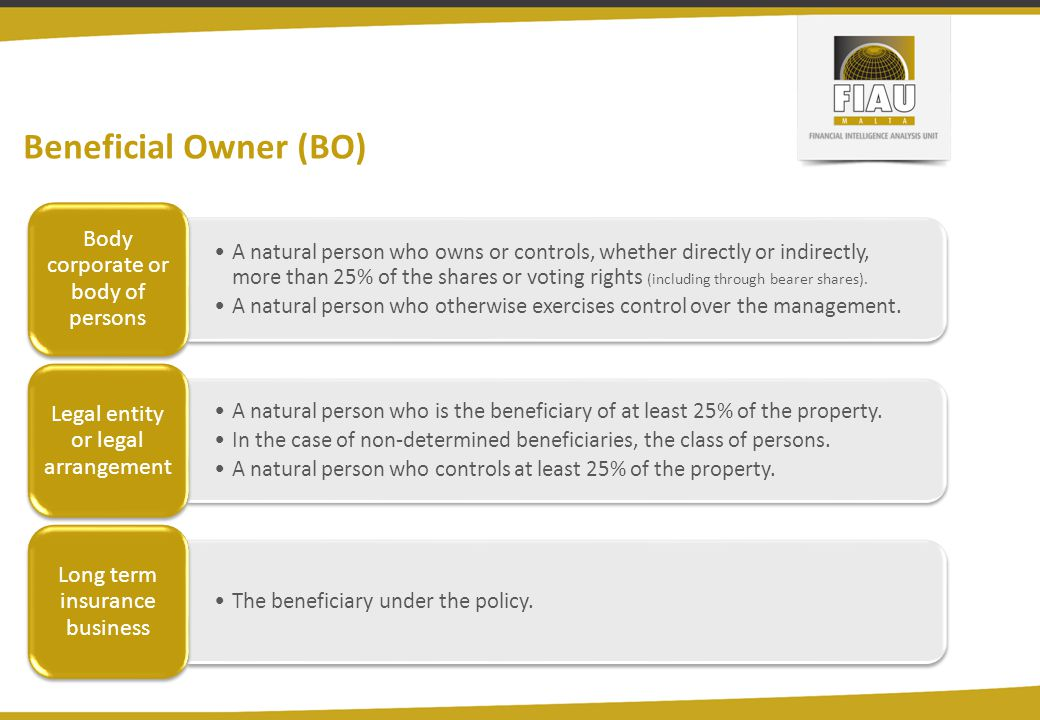 Beneficial Owner (BO) A natural person who owns or controls, whether directly or indirectly, more than 25% of the shares or voting rights (including t