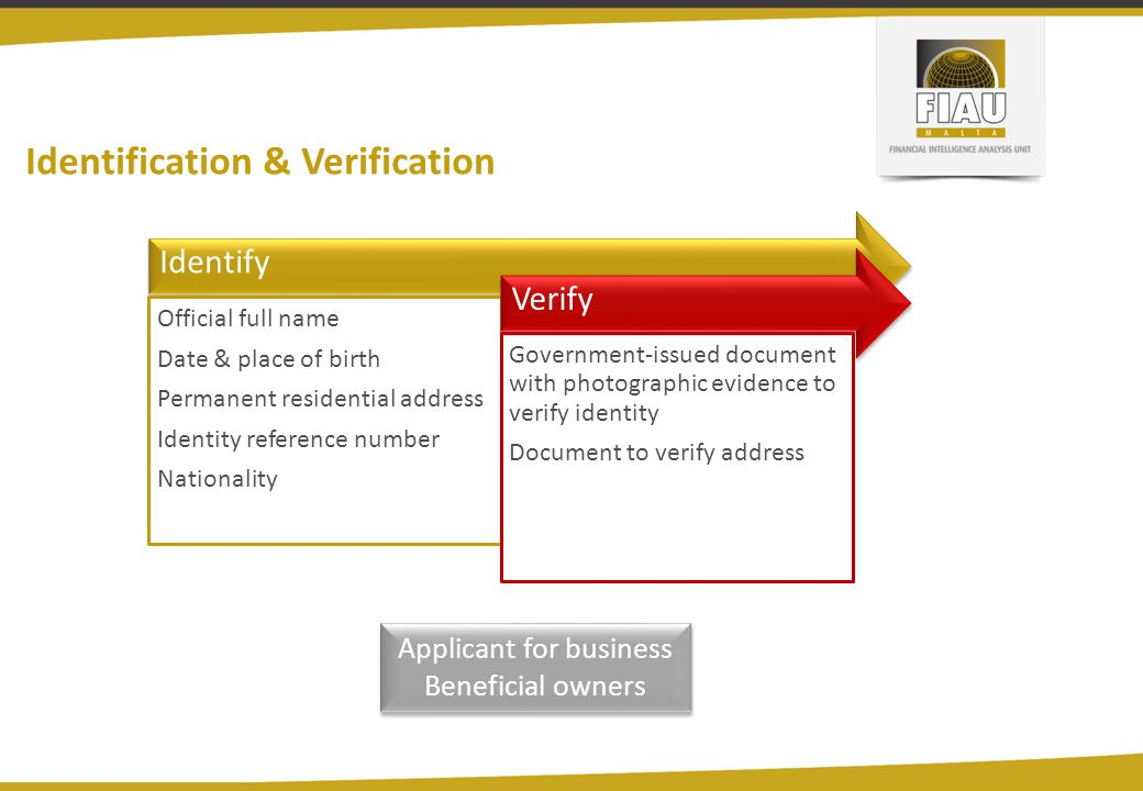 Identification & Verification Identify Official full name Date & place of birth Permanent residential address Identity reference number Nationality Verify Government-issued document with photographic evidence to verify identity Document to verify address Applicant for business Beneficial owners Applicant for business Beneficial owners