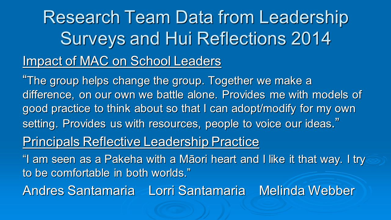 "Research Team Data from Leadership Surveys and Hui Reflections 2014 Impact of MAC on School Leaders "" The group helps change the group. Together we ma"