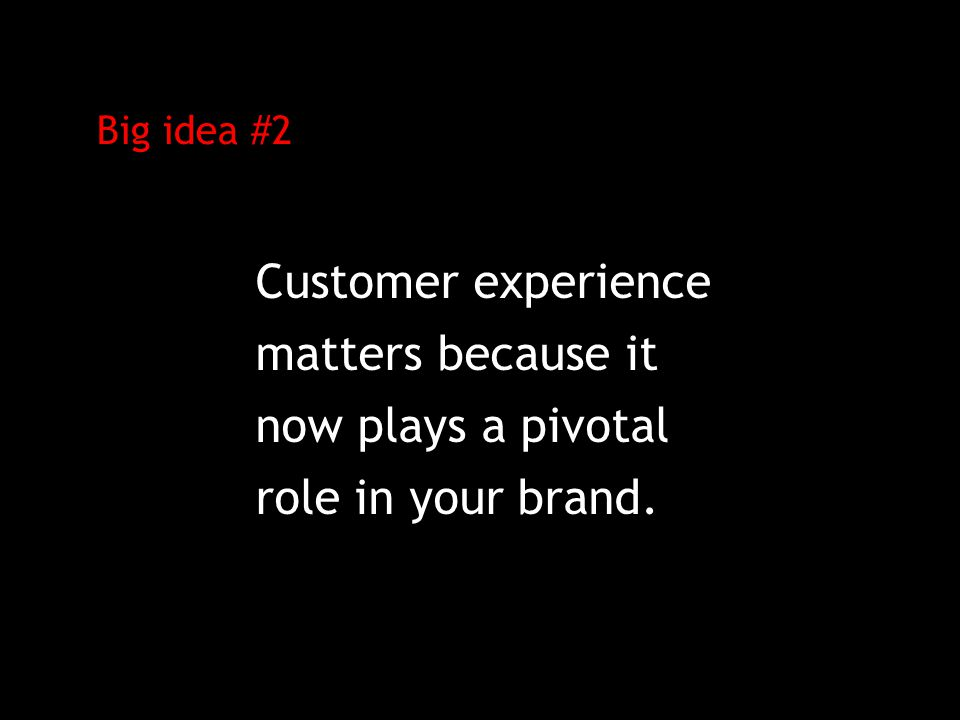 Big idea #2 Customer experience matters because it now plays a pivotal role in your brand.