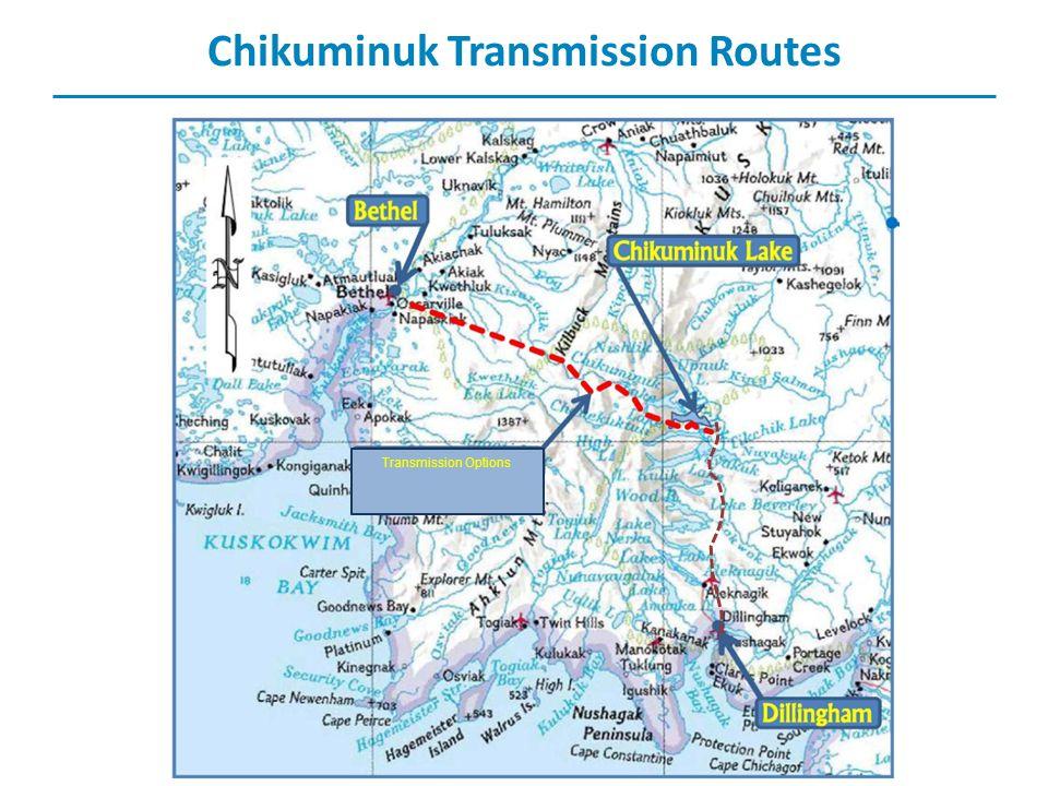 Chikuminuk Transmission Routes Transmission Options