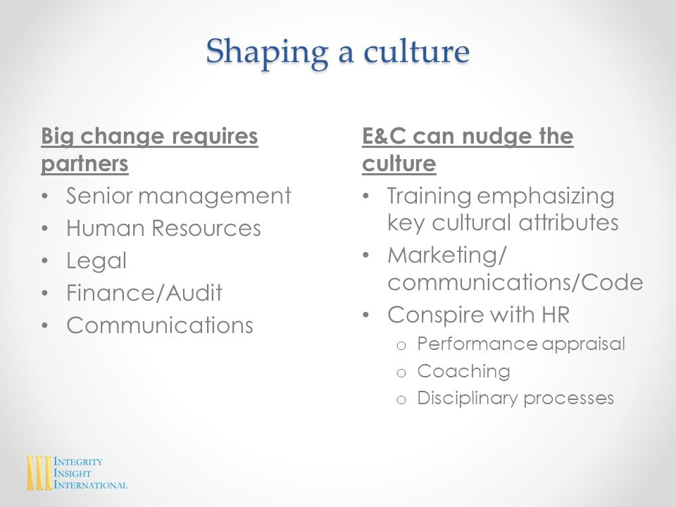 Shaping a culture Big change requires partners Senior management Human Resources Legal Finance/Audit Communications E&C can nudge the culture Training emphasizing key cultural attributes Marketing/ communications/Code Conspire with HR o Performance appraisal o Coaching o Disciplinary processes