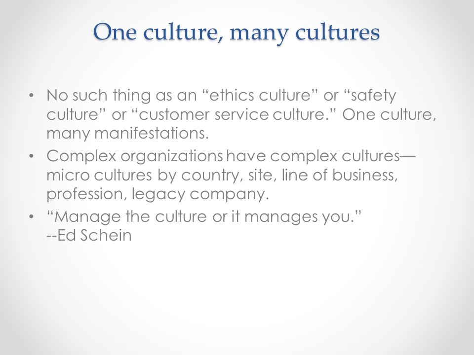 A healthy culture improves performance Profit Safety Integrity The Value of Corporate Culture ( 2013, U of Chicago