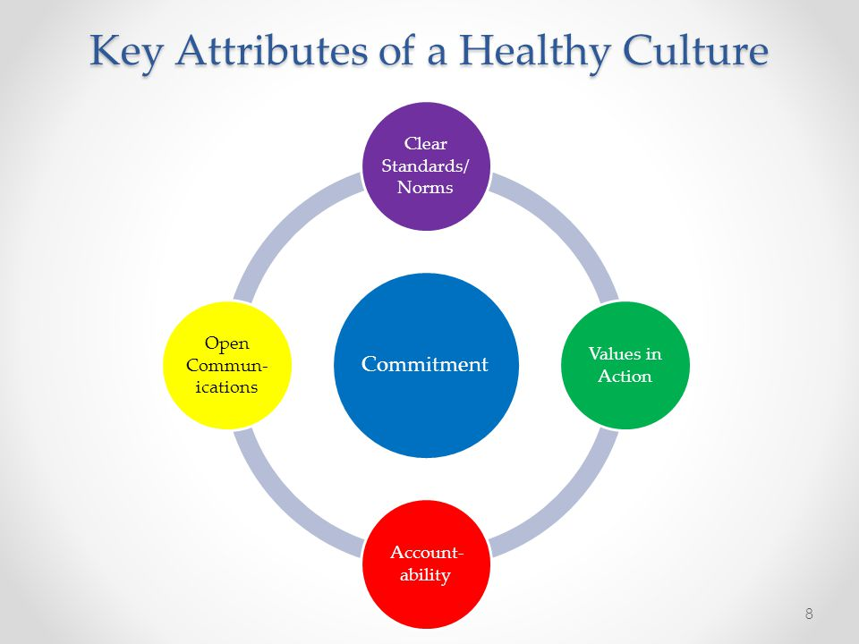 Key Attributes of a Healthy Culture Commitment Clear Standards/ Norms Values in Action Account- ability Open Commun- ications 8