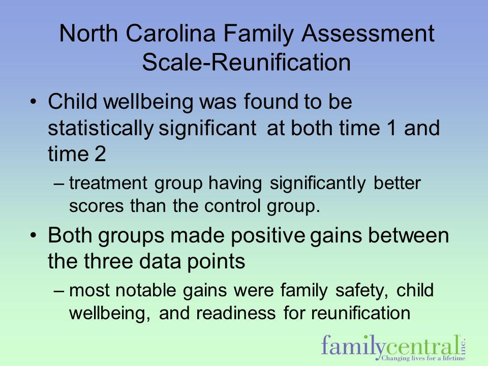 North Carolina Family Assessment Scale-Reunification Child wellbeing was found to be statistically significant at both time 1 and time 2 –treatment gr