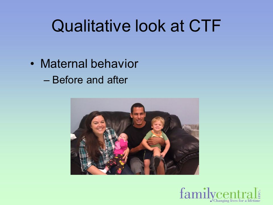 Qualitative look at CTF Maternal behavior –Before and after