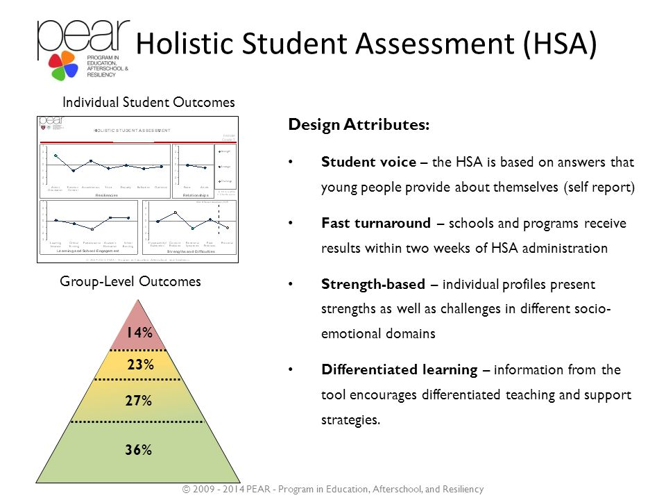 Holistic Student Assessment (HSA) Design Attributes: Student voice – the HSA is based on answers that young people provide about themselves (self report) Fast turnaround – schools and programs receive results within two weeks of HSA administration Strength-based – individual profiles present strengths as well as challenges in different socio- emotional domains Differentiated learning – information from the tool encourages differentiated teaching and support strategies.
