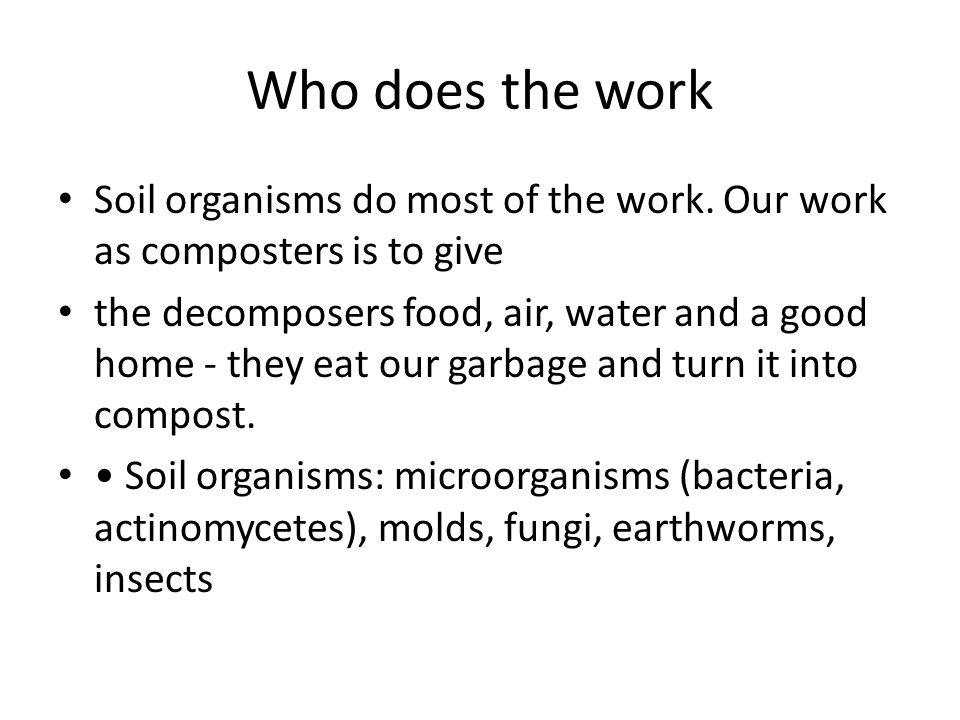 Who does the work Soil organisms do most of the work. Our work as composters is to give the decomposers food, air, water and a good home - they eat ou
