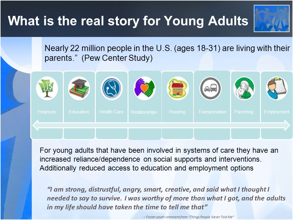 What is the real story for Young Adults Housing Relationships Health CareEducationFinances Transportation ParentingEmployment I am strong, distrustful, angry, smart, creative, and said what I thought I needed to say to survive.