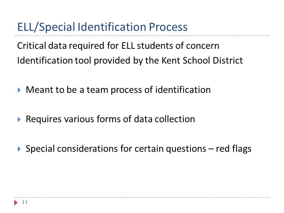 ELL/Special Identification Process 11 Critical data required for ELL students of concern Identification tool provided by the Kent School District  Meant to be a team process of identification  Requires various forms of data collection  Special considerations for certain questions – red flags