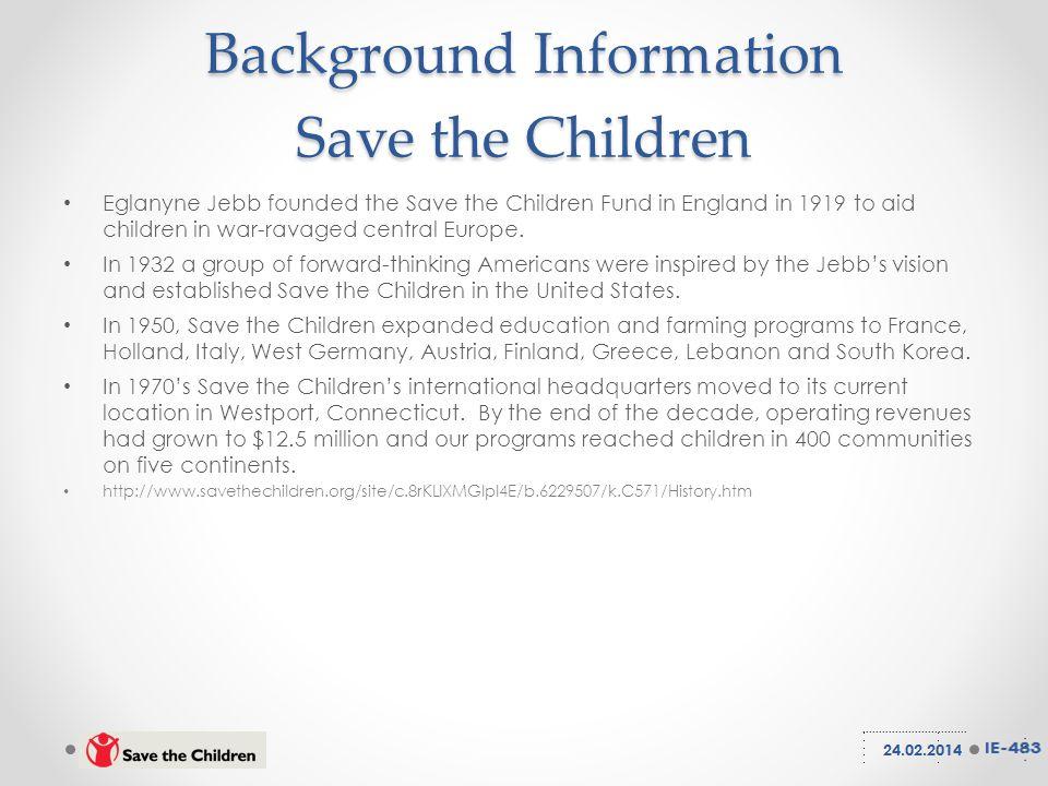 Background Information Save the Children Eglanyne Jebb founded the Save the Children Fund in England in 1919 to aid children in war-ravaged central Europe.