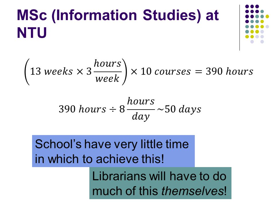 MSc (Information Studies) at NTU School's have very little time in which to achieve this.