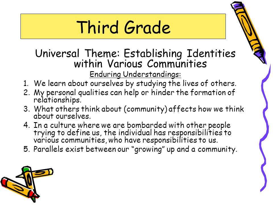 Third Grade Universal Theme: Establishing Identities within Various Communities Enduring Understandings: 1.We learn about ourselves by studying the lives of others.
