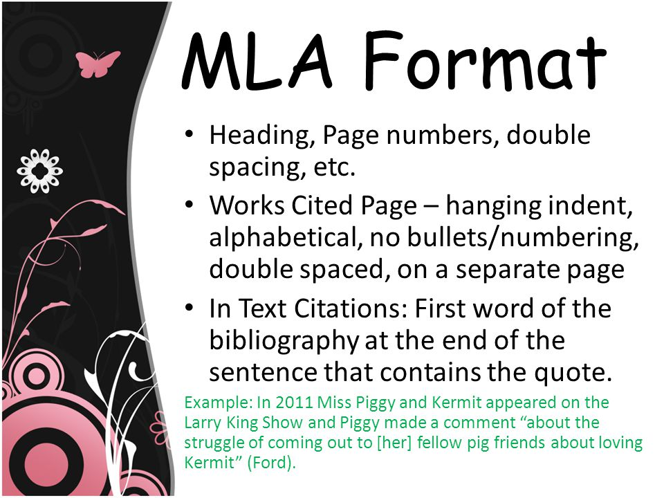 MLA Format Heading, Page numbers, double spacing, etc.