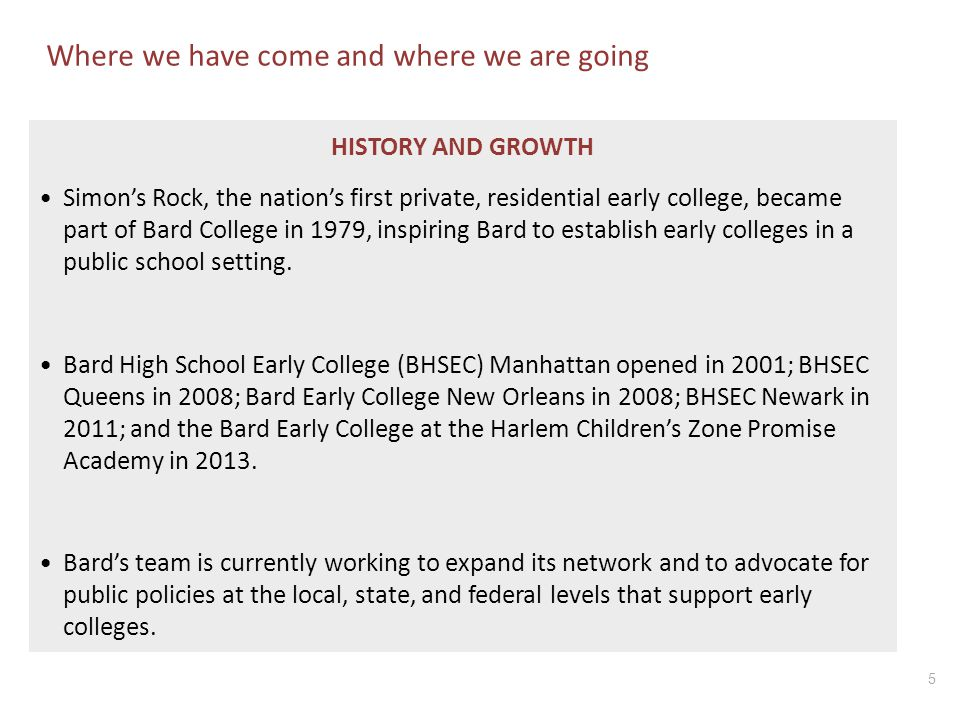 5 Where we have come and where we are going HISTORY AND GROWTH Simon's Rock, the nation's first private, residential early college, became part of Bar