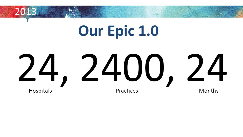 Our Epic 1.0 24, 2400, 24 2013 MonthsPractices Hospitals