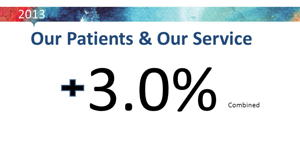 Our Patients & Our Service 3.0% 2013 Combined