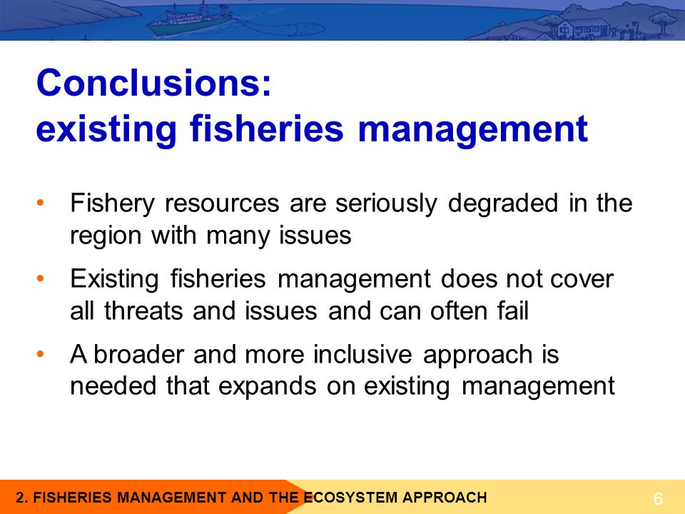 2. FISHERIES MANAGEMENT AND THE ECOSYSTEM APPROACH 6 Fishery resources are seriously degraded in the region with many issues Existing fisheries manage