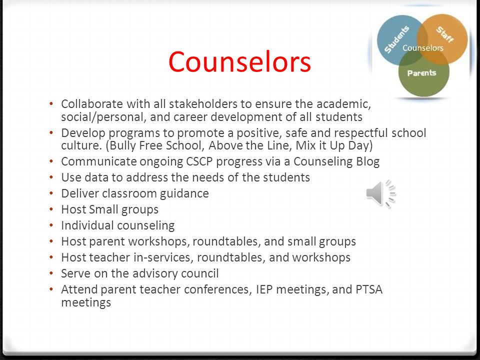 Counselors Collaborate with all stakeholders to ensure the academic, social/personal, and career development of all students Develop programs to promote a positive, safe and respectful school culture.