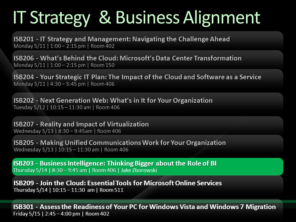 IT Strategy & Business Alignment ISB201 - IT Strategy and Management: Navigating the Challenge Ahead Monday 5/11 | 1:00 – 2:15 pm | Room 402 ISB206 - What s Behind the Cloud: Microsoft s Data Center Transformation Monday 5/11 | 1:00 – 2:15 pm | Room 150 ISB204 - Your Strategic IT Plan: The Impact of the Cloud and Software as a Service Monday 5/11 | 4:30 – 5:45 pm | Room 406 ISB202 - Next Generation Web: What s in It for Your Organization Tuesday 5/12 | 10:15 – 11:30 am | Room 406 ISB207 - Reality and Impact of Virtualization Wednesday 5/13 | 8:30 – 9:45am | Room 406 ISB205 - Making Unified Communications Work for Your Organization Wednesday 5/13 | 10:15 – 11:30 am | Room 406 ISB203 - Business Intelligence: Thinking Bigger about the Role of BI Thursday 5/14 | 8:30 – 9:45 am | Room 406 | Thursday 5/14 | 8:30 – 9:45 am | Room 406 | Jake Zborowski ISB209 - Join the Cloud: Essential Tools for Microsoft Online Services Thursday 5/14 | 10:15 – 11:30 am | Room 511 ISB301 - Assess the Readiness of Your PC for Windows Vista and Windows 7 Migration Friday 5/15 | 2:45 – 4:00 pm | Room 402