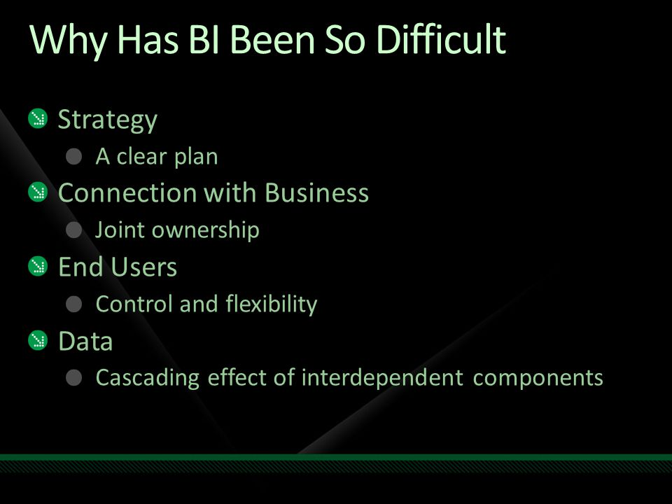 Why Has BI Been So Difficult Strategy A clear plan Connection with Business Joint ownership End Users Control and flexibility Data Cascading effect of