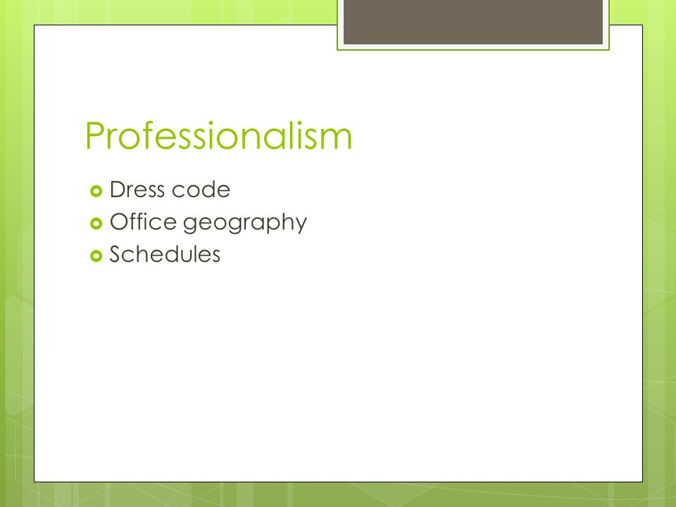 Professionalism  Dress code  Office geography  Schedules