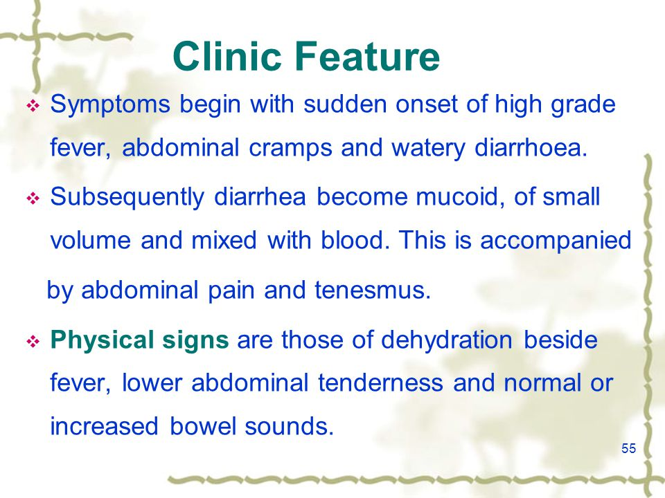 55 Clinic Feature  Symptoms begin with sudden onset of high grade fever, abdominal cramps and watery diarrhoea.