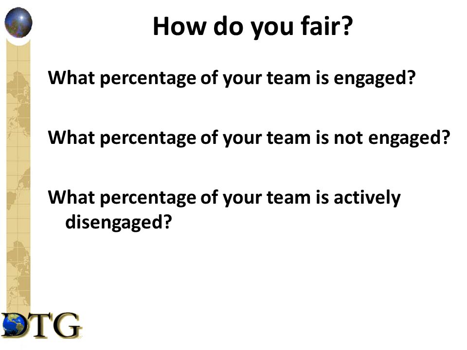 How do you fair? What percentage of your team is engaged? What percentage of your team is not engaged? What percentage of your team is actively diseng