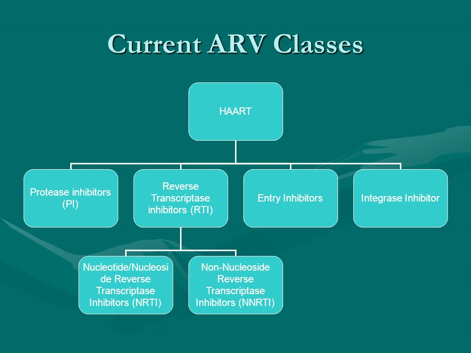 Current ARV Classes HAART Protease inhibitors (PI) Reverse Transcriptase inhibitors (RTI) Entry Inhibitors Nucleotide/Nucleosi de Reverse Transcriptas