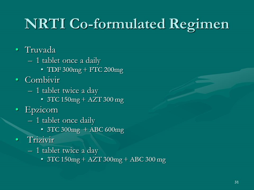 NRTI Co-formulated Regimen TruvadaTruvada –1 tablet once a daily TDF 300mg + FTC 200mgTDF 300mg + FTC 200mg CombivirCombivir –1 tablet twice a day 3TC