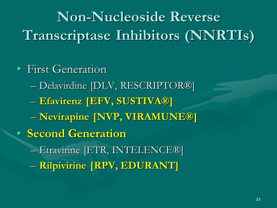 Non-Nucleoside Reverse Transcriptase Inhibitors (NNRTIs) First GenerationFirst Generation –Delavirdine [DLV, RESCRIPTOR®] –Efavirenz [EFV, SUSTIVA®] –