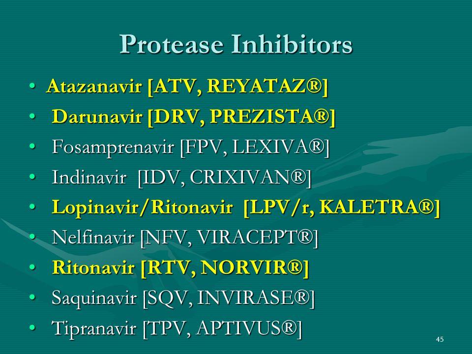 Protease Inhibitors Atazanavir [ATV, REYATAZ®]Atazanavir [ATV, REYATAZ®] Darunavir [DRV, PREZISTA®] Darunavir [DRV, PREZISTA®] Fosamprenavir [FPV, LEX