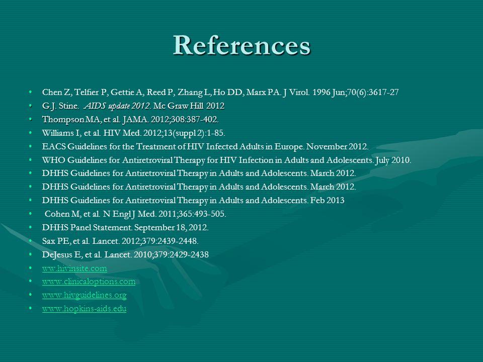 References Chen Z, Telfier P, Gettie A, Reed P, Zhang L, Ho DD, Marx PA. J Virol. 1996 Jun;70(6):3617-27 G.J. Stine. AIDS update 2012. Mc Graw Hill 20