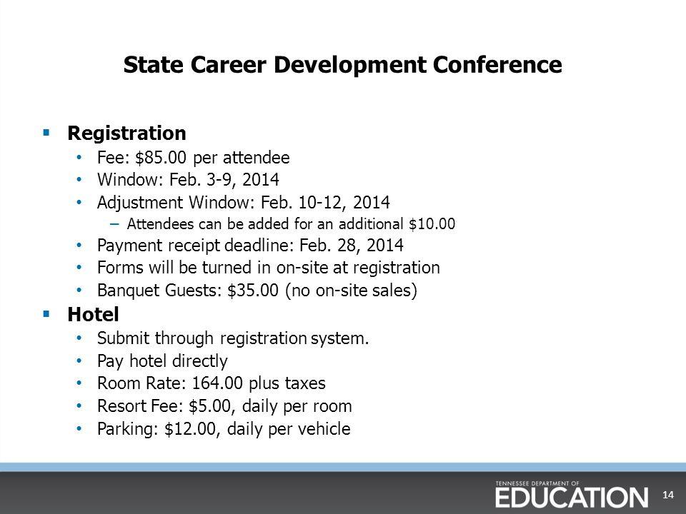 State Career Development Conference  Registration Fee: $85.00 per attendee Window: Feb.