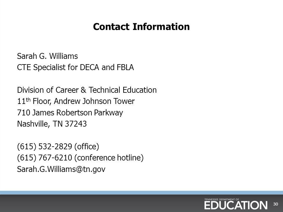 Contact Information Sarah G.