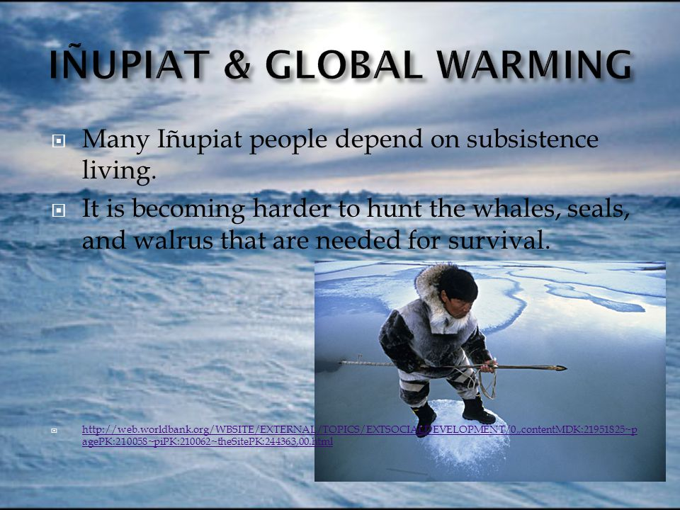  Many Iñupiat people depend on subsistence living.