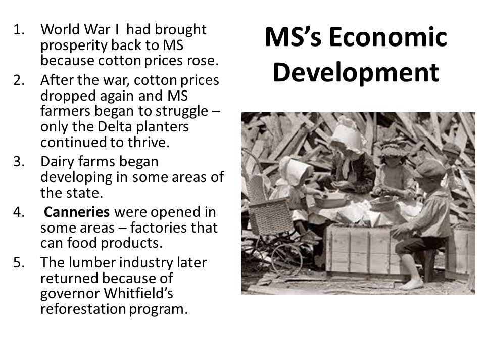 MS's Economic Development 1.World War I had brought prosperity back to MS because cotton prices rose.