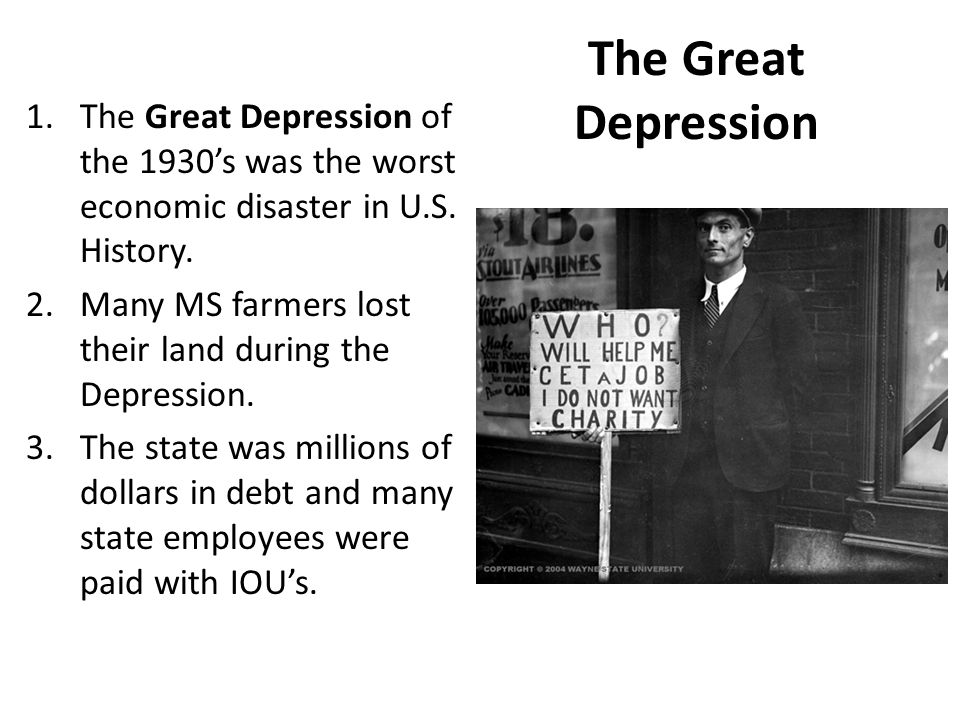 The Great Depression 1.The Great Depression of the 1930's was the worst economic disaster in U.S.