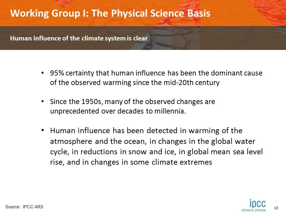 10 Working Group I: The Physical Science Basis Human influence of the climate system is clear 95% certainty that human influence has been the dominant cause of the observed warming since the mid-20th century Since the 1950s, many of the observed changes are unprecedented over decades to millennia.