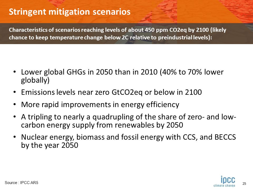 25 Stringent mitigation scenarios Characteristics of scenarios reaching levels of about 450 ppm CO2eq by 2100 (likely chance to keep temperature change below 2C relative to preindustrial levels): Lower global GHGs in 2050 than in 2010 (40% to 70% lower globally) Emissions levels near zero GtCO2eq or below in 2100 More rapid improvements in energy efficiency A tripling to nearly a quadrupling of the share of zero- and low- carbon energy supply from renewables by 2050 Nuclear energy, biomass and fossil energy with CCS, and BECCS by the year 2050 Source : IPCC AR5
