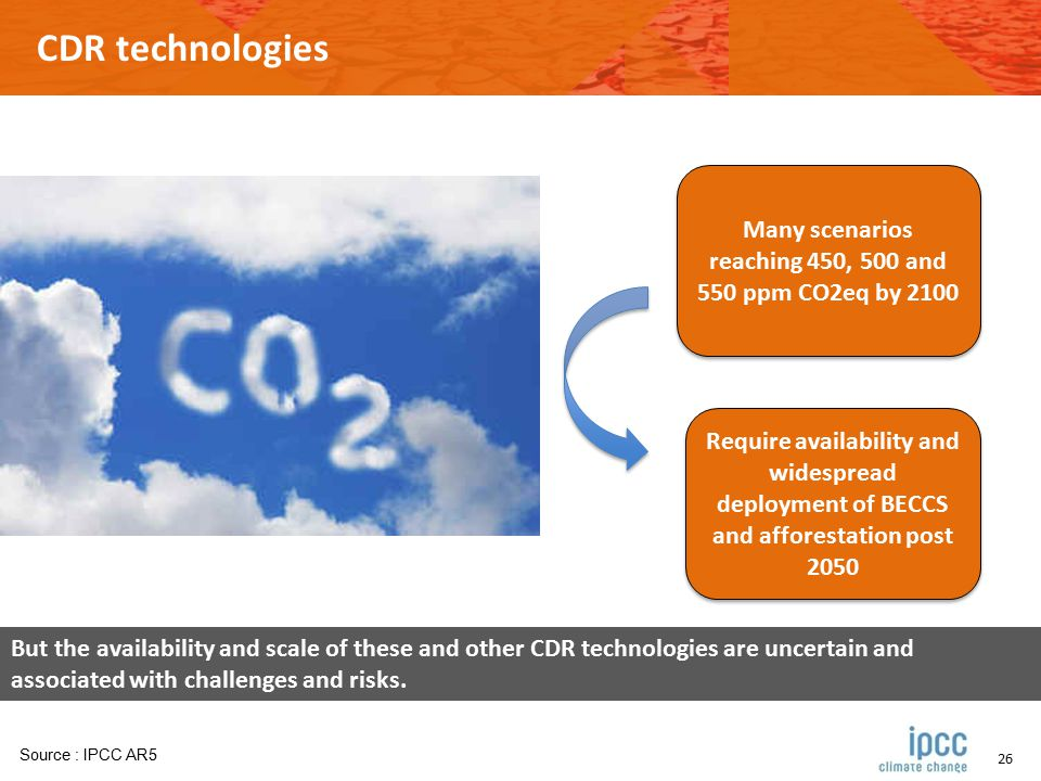 26 CDR technologies Many scenarios reaching 450, 500 and 550 ppm CO2eq by 2100 Require availability and widespread deployment of BECCS and afforestation post 2050 Source : IPCC AR5 But the availability and scale of these and other CDR technologies are uncertain and associated with challenges and risks.