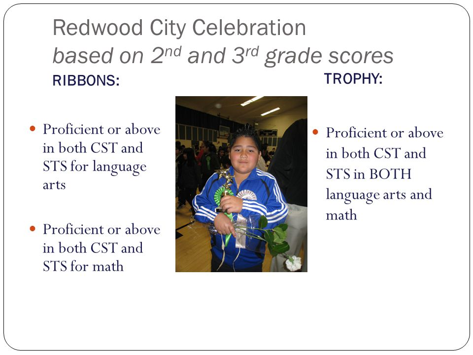 Redwood City Celebration based on 2 nd and 3 rd grade scores RIBBONS: TROPHY: Proficient or above in both CST and STS for language arts Proficient or
