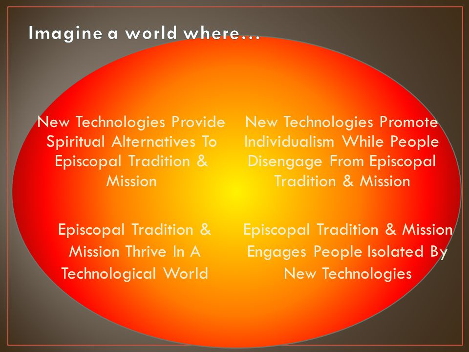 New Technologies Provide Spiritual Alternatives To Episcopal Tradition & Mission New Technologies Promote Individualism While People Disengage From Episcopal Tradition & Mission Episcopal Tradition & Mission Thrive In A Technological World Episcopal Tradition & Mission Engages People Isolated By New Technologies